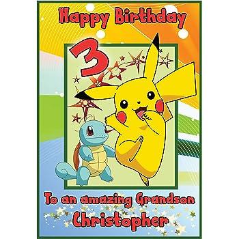Personalised Pokemon Pikachu Inspired Birthday Card Boy Amazon