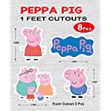 WoW Party Studio Pig Cartoon 1ft Cardstock Cutouts for Happy Birthday Decorations - 8Pcs