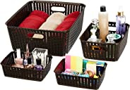 Amazon Brand - Solimo 4 Piece Storage Basket Set, Brown