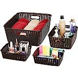 Amazon Brand - Solimo 4 Piece Storage Basket Set, Brown