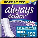 Always Dailies, Protège-Slips, Extra Protect Large, Format Eco x192 (8 packs de 24 unités)