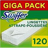 Swiffer Recharges Lingettes Sèches, 3x40 (120) Lingettes Nettoyantes, pour Balai Swiffer, Attrape et Retient la Poussière [No