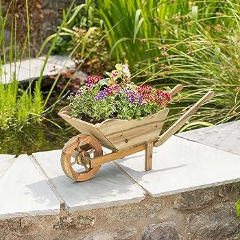 Christow Wooden Wheelbarrow Garden Planter Outdoor Patio Flower Plant  Ornament