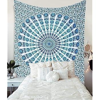 Blue, 82x59 inches QCWN Popular Indian Bohemian Hippie Mandala Twin Tapestry Multi-Purpose Decorative Wall Hanging Wall Art