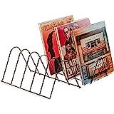 Estantería vinilos | Soporte discos | Almacenamiento para 75 LPs | Soporte folletos | Metal negro mate | Soporte para discos