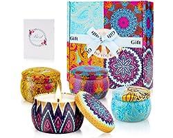 Coffret Bougies Parfumées Cadeau,Bougies Parfumées Coffret Cadeau Bougie Aromatique, 4 Pièces, 4.4oz, 120 Heures Brûlantes, p