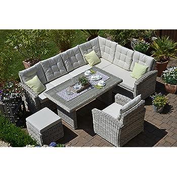 Rattan Lounge-Set in Grau mit Polyrattan Sitzecke