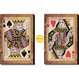 Decodrama Set of 2, King and Queen Cards for Couple Wall Painting/Wall Décor/Wall Art for Living Room, Bedroom Framed On 6mm
