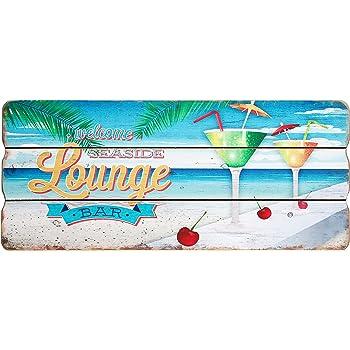 Holzschild Tropical Paradise Summer Design MDF 27x15cm bunt Vintage Deko