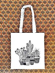 Tote bag Cactus - Tote Bag style Boho - Sac Cabas 100% Coton écologique - Cadeau pour femme - Cadeau de Noël