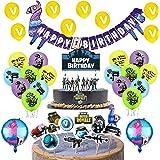 Video Game Cumpleaños Decoracion Gaming Globos Pancarta de Videojuegos Adornos para Pastel de Video Game