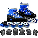 EASY FUTURE Inline Skates Adjustable Size Roller Skates with Flashing Wheels for Outdoor Indoor Children Skate Shoes for Boys