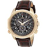 CITIZEN Mens Solar Powered Watch, Analog Display and Leather Strap BL5403-03X