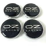 Un juego de tapacubos central de rueda de aleación de carreras de 4 oz, placa de rueda con efecto de carbono cubierto de 60 m