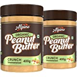 Alpino Organic Natural Peanut Butter Crunch 800 G | Unsweetened | Made with 100% Roasted Organic Peanuts | 30% Protein | No A