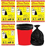 Clean India-120pcs- Garbage Bags (Medium) Size 48 x 56 cm (19x21 Inches)   4 Packs (120 Bags)  Black Dustbin Bags Garbage Bag