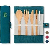 Bambaw Set Couverts en Bambou   Couverts en Bois   Kit Couverts écologique   Couteau, Fourchette, cuillère et Paille…