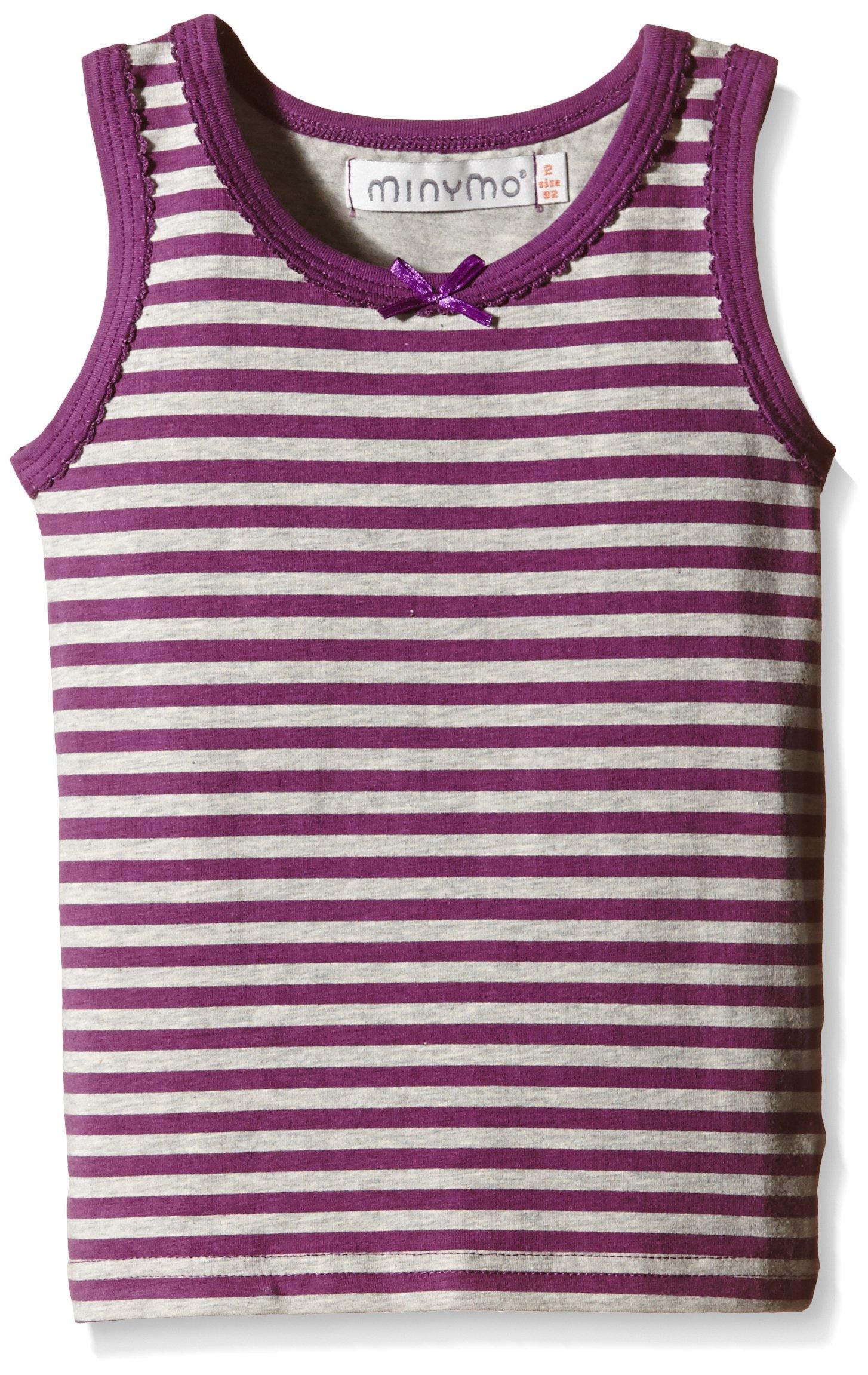 Minymo Chen 66-Undershirt Print/Stripe, Vestaglia Bambina, Multicolored (Purple Passion), 24 mesi