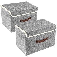 UMI. by Amazon 2 Pack Boîtes de Rangement Tissu avec Couvercle et Poignée, Caisse de Rangement Pliable Gris