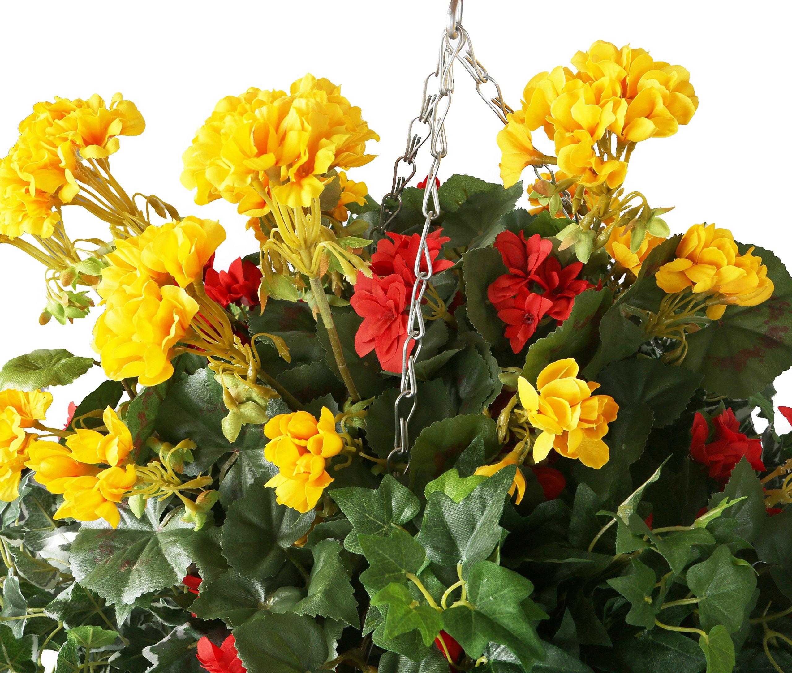 Closer2Nature Artificial Rojo Begonia y Amarillo Geranio Pantalla en un 14«Cesta Redonda de Madera de Sauce