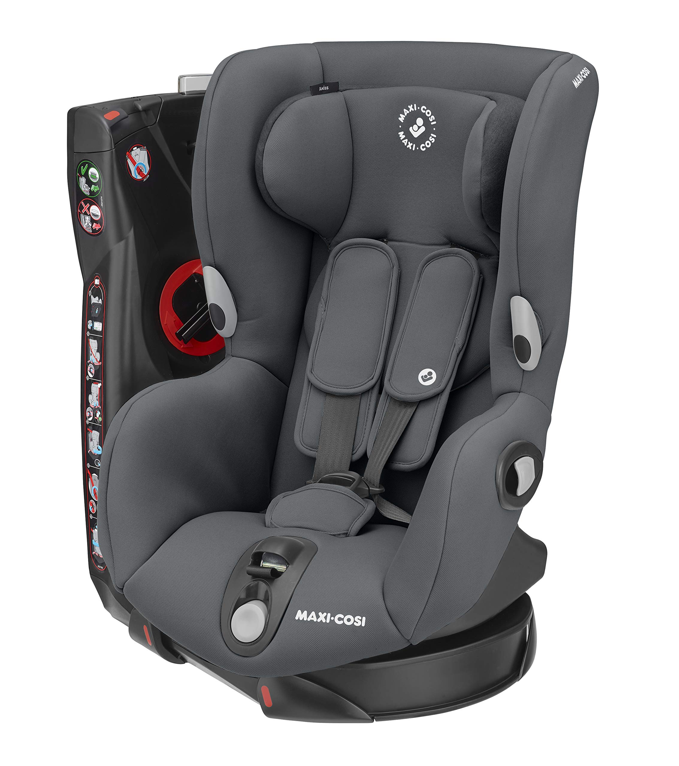 Maxi-Cosi Axiss Swivelling Toddler Car Seat, Authentic Graphite, 11.79 kg Maxi-Cosi Maxi-cosi axiss car seat swivels 90° degrees allows for front-on access to get your toddler in and out of the car more easily 8 comfortable recline positions Install using the car's seat belt and the integrated belt tensioner ensures a solid fit 1