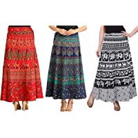 MIRAV FASHION Women Maxi Skirt (Pack of 3) (Multicolored_Free Size)