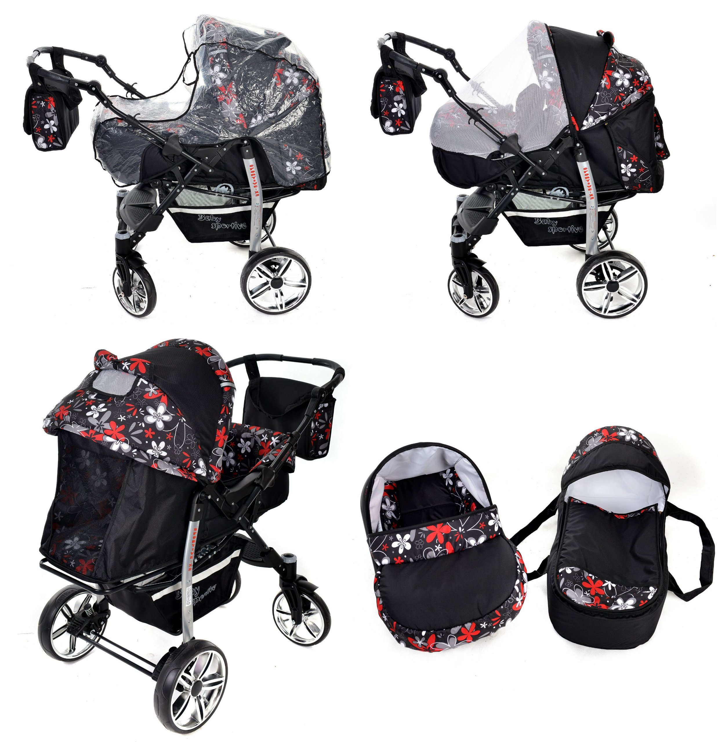 Sportive X2, 3-in-1 Travel System incl. Baby Pram with Swivel Wheels, Car Seat, Pushchair & Accessories (3-in-1 Travel System, Black & Small Flowers) Baby Sportive 3 in 1 Travel System All in One Set - Pram, Car Carrier Seat and Sport Buggy + Accessories: carrier bag, rain protection, mosquito net, changing mat, removable bottle holder and removable tray for your child's bits and pieces Suitable from birth, Easy Quick Folding System; Large storage basket; Turnable handle bar that allows to face or rear the drive direction; Quick release rear wheels for easy cleaning after muddy walks Front lockable 360o swivel wheels for manoeuvrability , Small sized when folded, fits into many small car trunks, Carry-cot with a removable hood, Reflective elements for better visibility 7