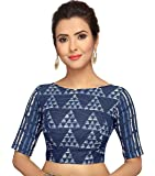 STUDIO Shringaar Traditional Indigo Blue Block Printed Pure Cotton Readymade Saree Blouse With Elbow Length Sleeves