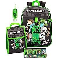 Minecraft Rucksack & Lunchbox Kinder 5-teilige Schule Rucksack Bag Set Einheitsgröße