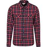 Mountain Warehouse Trace Mens Flannel Long Sleeve Shirt - 100% Cotton Checks Shirt, Lightweight, Breathable, Casual, Zipped P