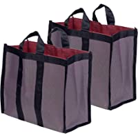 AQBAH Jyoti Fabric Grocery Shopping Bags with Reinforced Handles for Vegetables (40x32x21) - Pack of 2