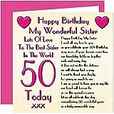 Awesome My Little Sister 50Th Happy Birthday Card Naughty Nails Fun Funny Birthday Cards Online Elaedamsfinfo