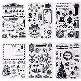 Whaline 6 feuilles de tampons transparents en silicone sur le thème de Noël pour la fabrication de cartes, le scrapbooking, l