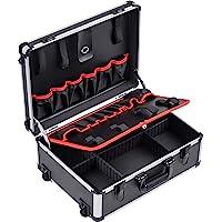 Meister 9095080 - Trolley per attrezzi vuoto, 460 x 350 x 190 mm, con ruote, 15 tasche per attrezzi con elastici in…