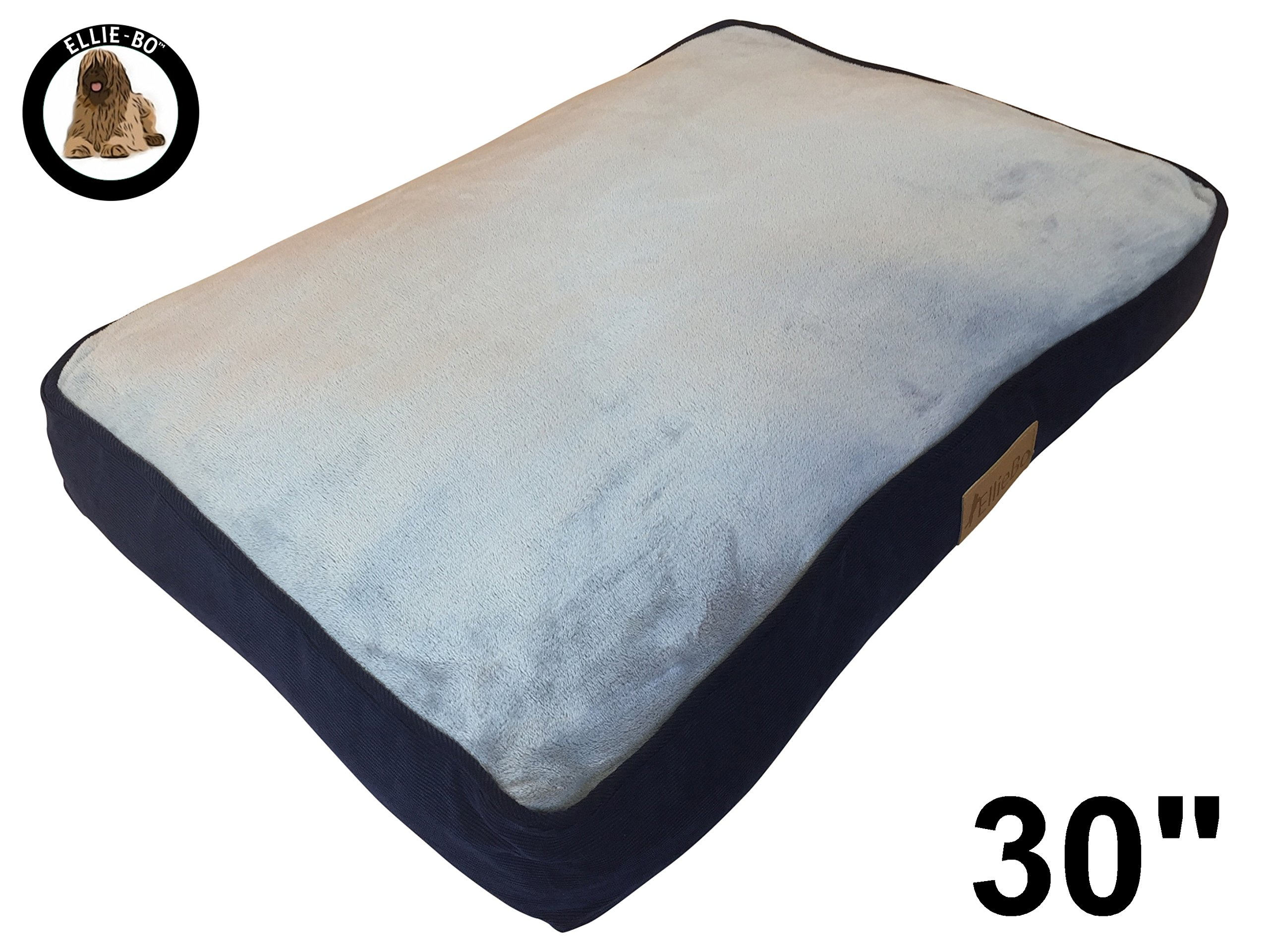 Ellie-Bo Medium 71cms x 48cms Dog Bed Blue Corduroy Sides and Grey Faux Fur Topping will fit 30″ Small Dog Cage or Crate