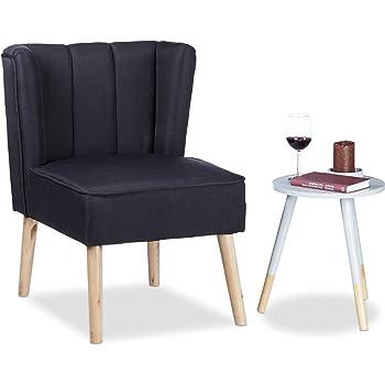 Relaxdays Ohrensessel Retro, Skandinavisches Design, Weicher Stoff,  Bequemer Relaxsessel, HBT: 80 X 55 X 60 Cm, Schwarz