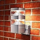 NBHANYUAN Lighting® Wandlampe/Außenlampe Gartenleuchte LED Aussenwandleuchten für Balkon, Haus Silber Edelstahl 3000K Warmweiß Licht 220-240V 1000LM 9W IP44 (ohne PIR Sensor)