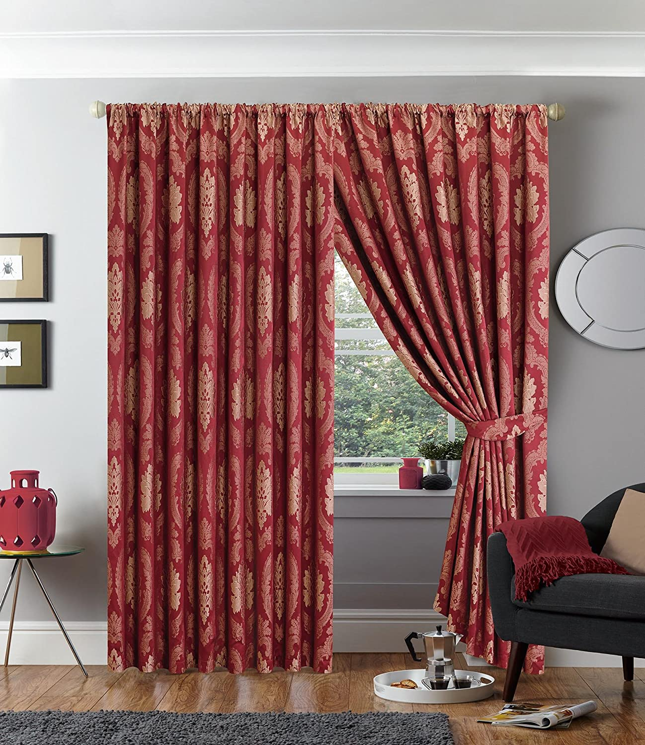 Maroon Curtains For Living Room Fully Lined Pencil Pleat Luxury Jacquard Ready Made Curtain All