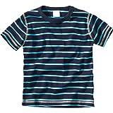 WELLYOU Camiseta de Manga Corta Azul Oscuro con Rayas turqesa, para niños 100% de algodón. Tallas 56-146