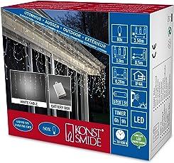 Konstsmide 3739-102 LED Eisregen Lichtervorhang/für Außen (IP44) / Batteriebetrieben: 2 x D 1.5V (exkl.) /mit Lichtsensor und 6h und 9h Timer / 80 warm weiße Dioden/weißes Kabel