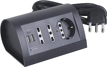 BTicino S3711GU Multipresa da Scrivania, 2 Prese USB, 2.1 A Ripartiti, Grigio, 2 m