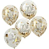 Ginger Ray Oh Baby Shower Confetti Balloons Gold Foiled 5 Pack, 5pk