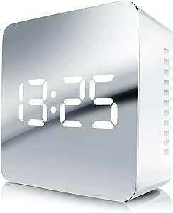 Bearware Réveil numérique à LED | Réveil de Voyage avec Affichage de la températureréveil | Alarme Miroir | Affichage de la température intérieure