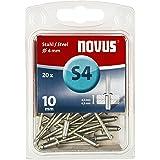 Novus stalen klinknagels, 10 mm lengte, 20 klinknagels met Ø 4 mm, 4,5-6,5 mm klemlengte, voor bevestiging van plaatstaal