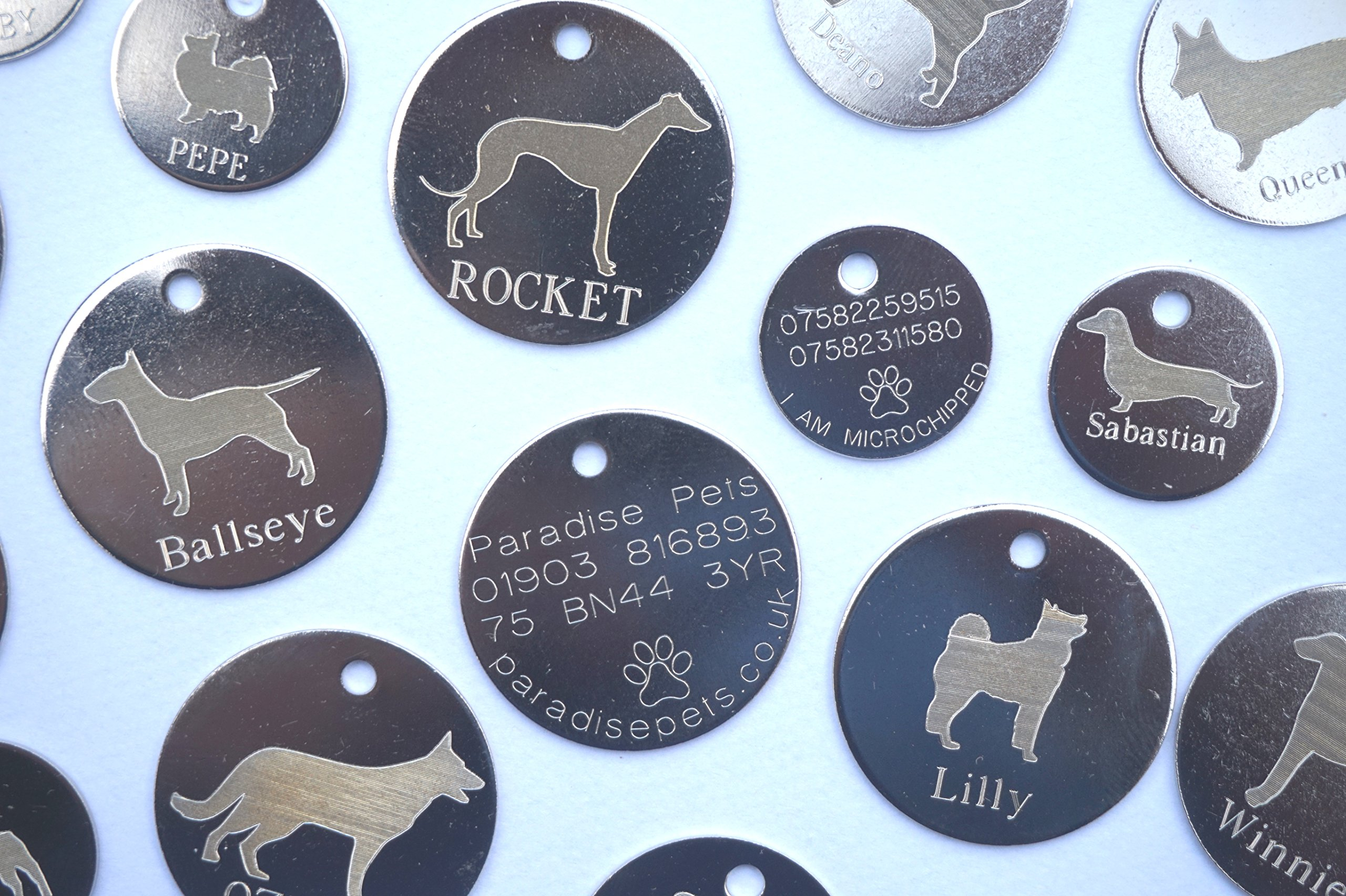Personalised Dog Pet Identity ID Tag Disc Engraved – tick gift message box to leave engraving details – dog breed – size (20,25.30,32mm) and colour/finish (Silver or Brass)