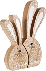 Heitmann Deco - 2er Osterhasen-Set - Holz-Hasen - schöne Dekofiguren für Ostern und Frühling zum Dekorieren