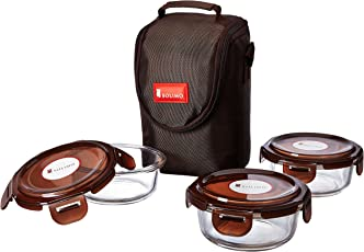 Amazon Brand - Solimo Glass Lunch Box Set with Bag, 350ml, 3-Pieces, Clear