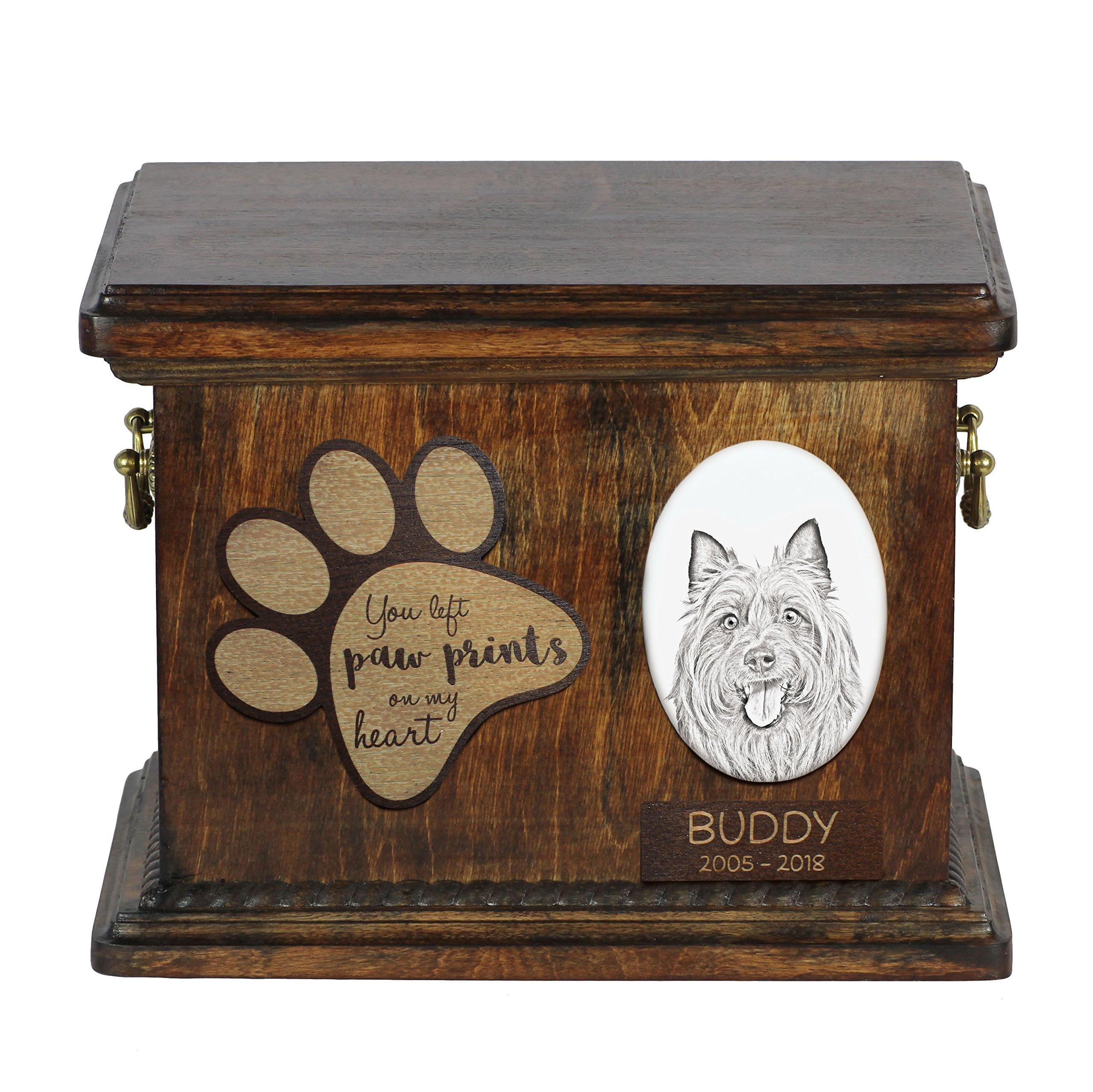 ArtDog Ltd. Australian Terrier, urn for dog's ashes with ceramic plate and description