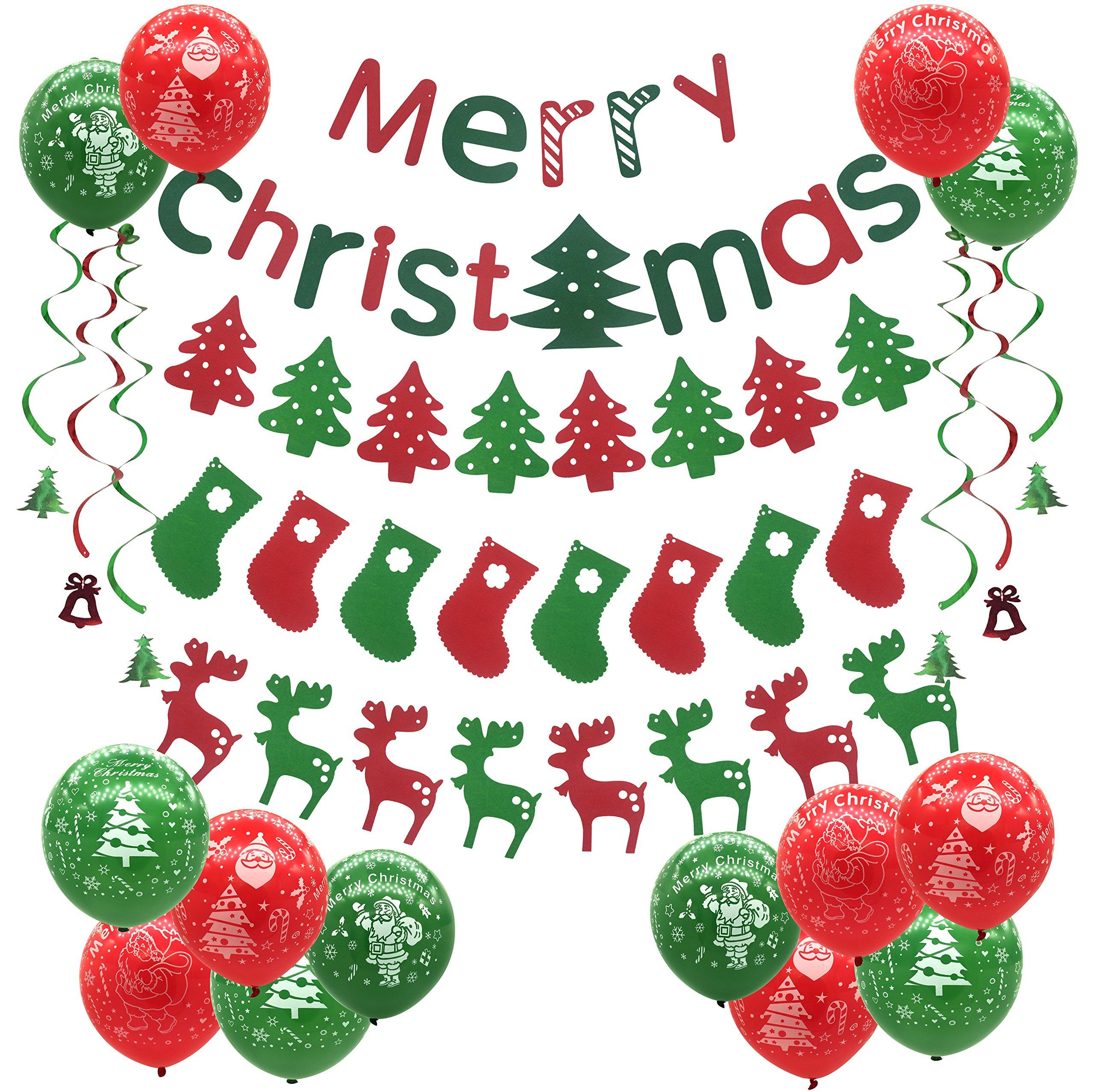 Decoración de la fiesta de Navidad, Árboles de Navidad Calcetines Alces Globos Feliz Navidad Banner Bunting para Supermercado, Tienda, Empresa, Decoración del hogar, Vacaciones, Año Nuevo Decoración d