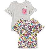 Spotted Zebra Camisetas de Manga Corta con Volantes. Fashion-t-Shirts, Paquete de 2 Bolsillos para sandía/Floral, EU 104-110